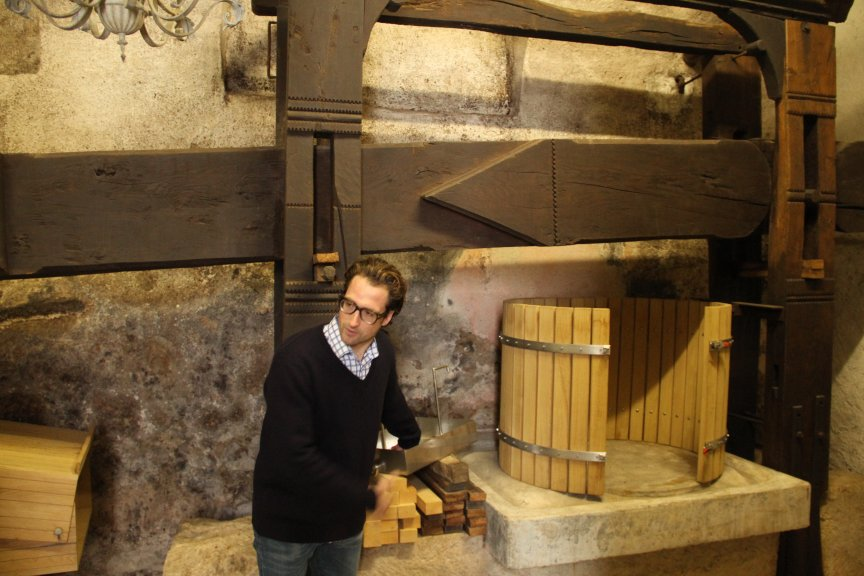 The 200 year old screw-press at Gut Oggau