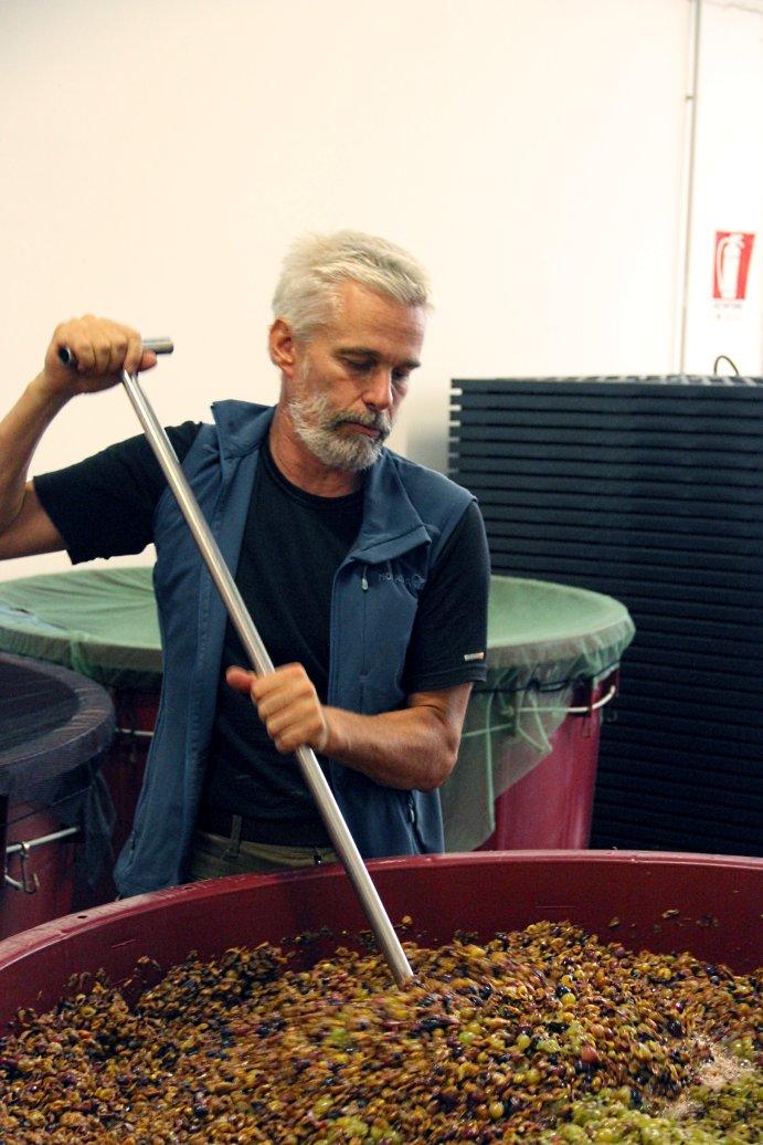 Frank Cornelissen doing pigeage for the 2013 Rosé