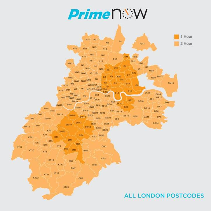 Amazon Prime Now London delivery area